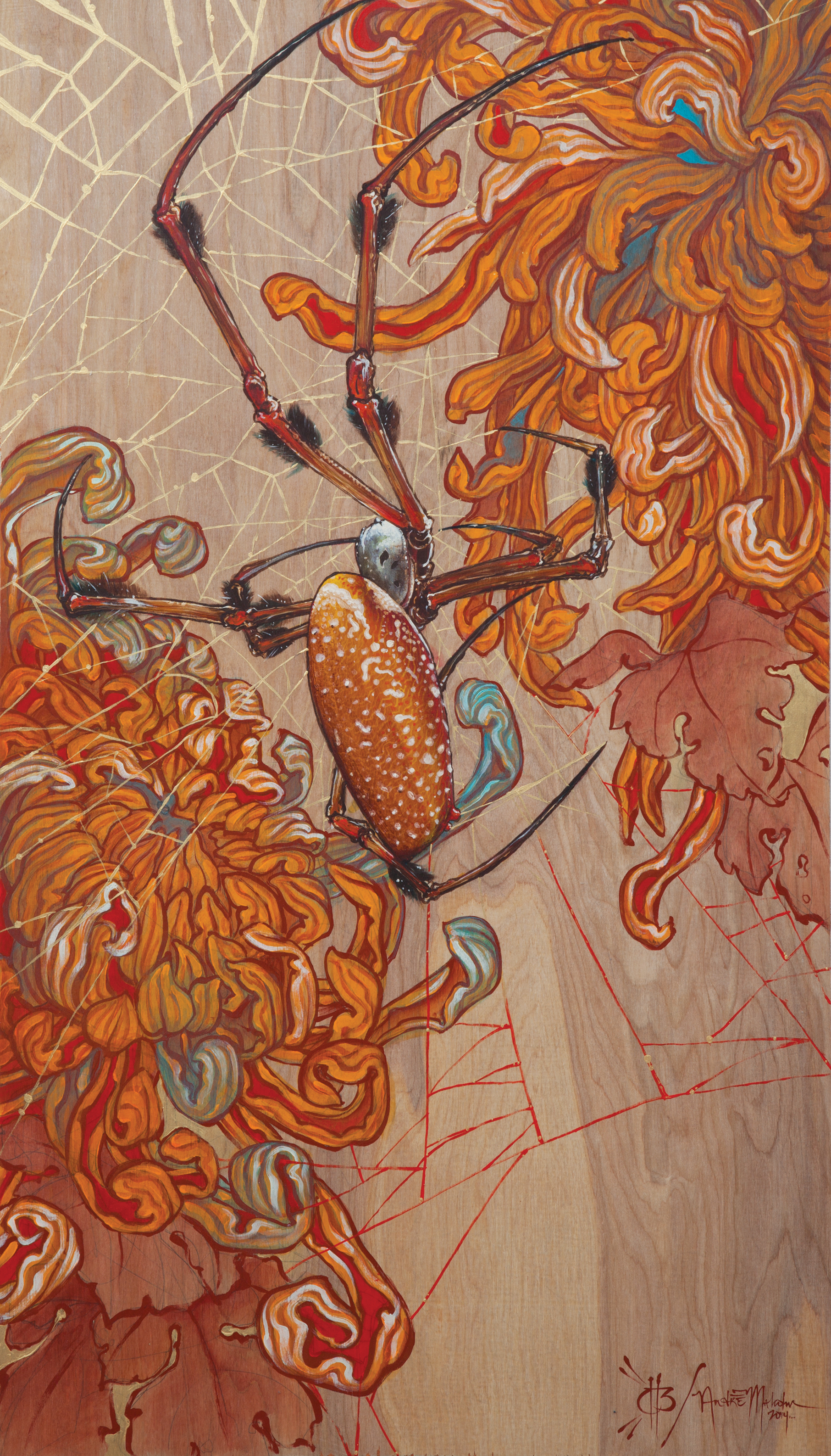 Christopher Brand & André Malcolm- Spider/mums. 2014- acrylic on wood. 2'x 4'