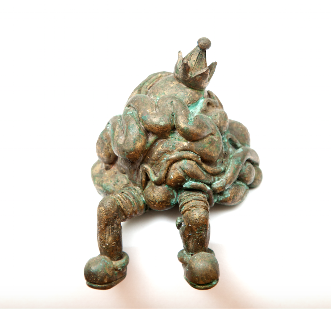 """Untitled (seated party growth). 2001- bronze. 5""""x 5"""""""