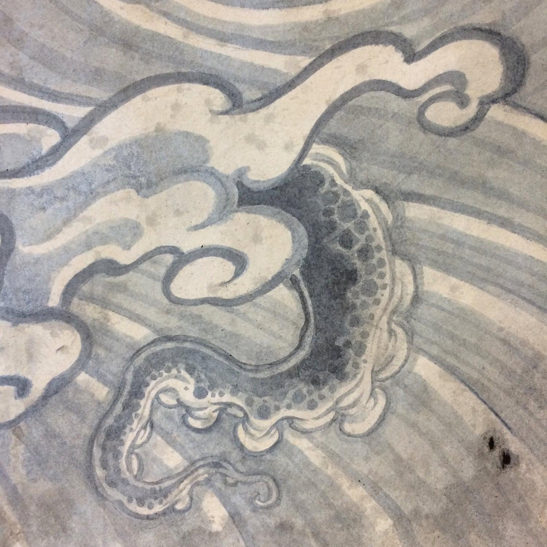 "Ancient Warnings . Detail. 2015 - acrylic on fabric, wood & plastic. 36"" x 30""."
