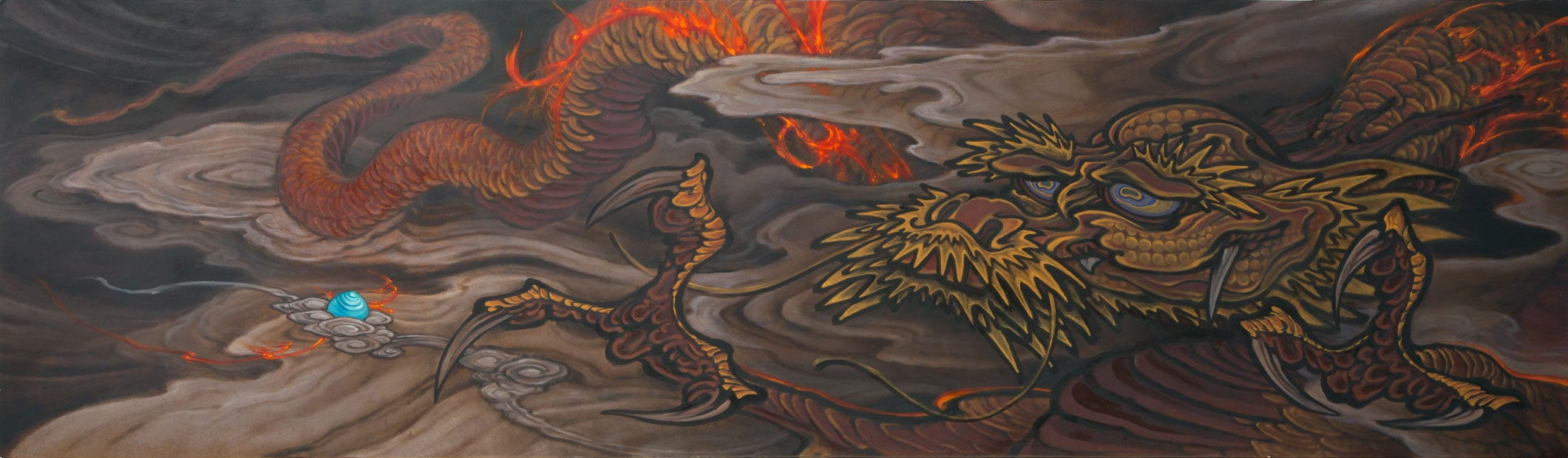 """Untitled (Golden Dragon and Pearl) . 2014 - oil on masonite. 27.5"""" x 96""""."""