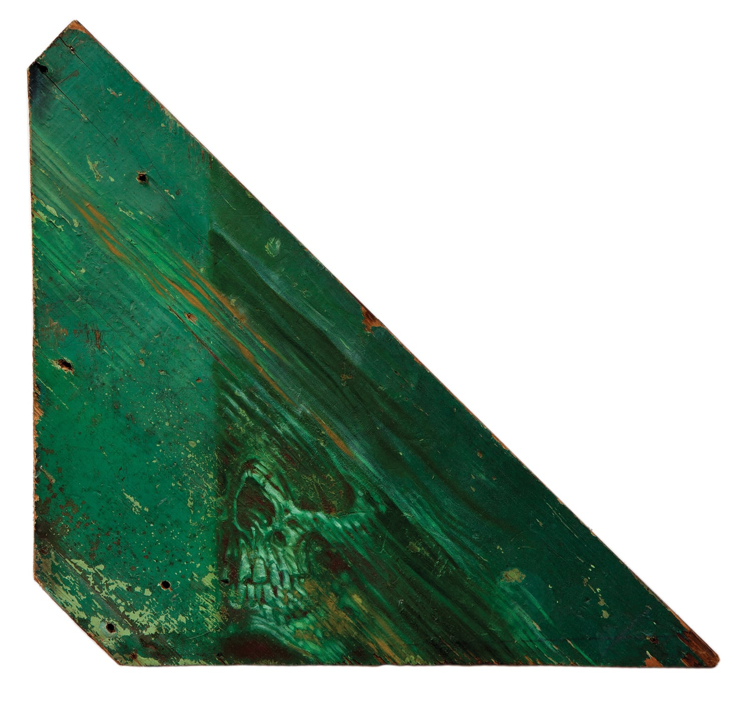 """Green Ghost . 2014 - oil on wood. 12"""" x 12""""."""