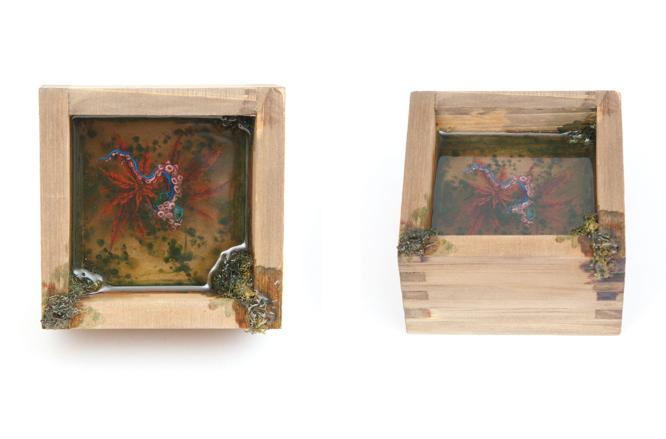 "Untitled (autumn rain) . 2014 - acrylic on layered resin. 4"" x 4""."