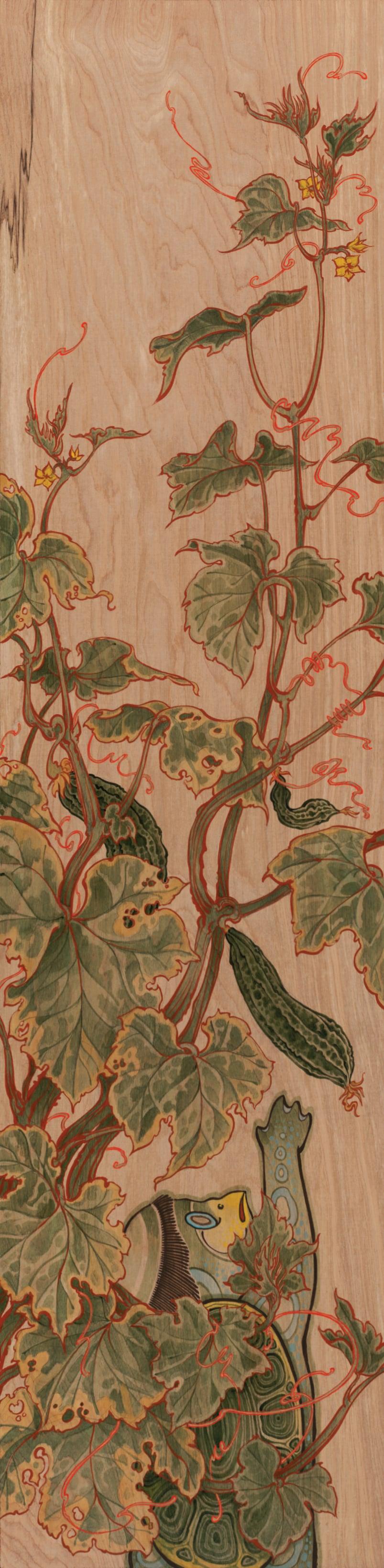 Kappa In My Garden . 2014 - acrylic on wood. 4' x 1'.