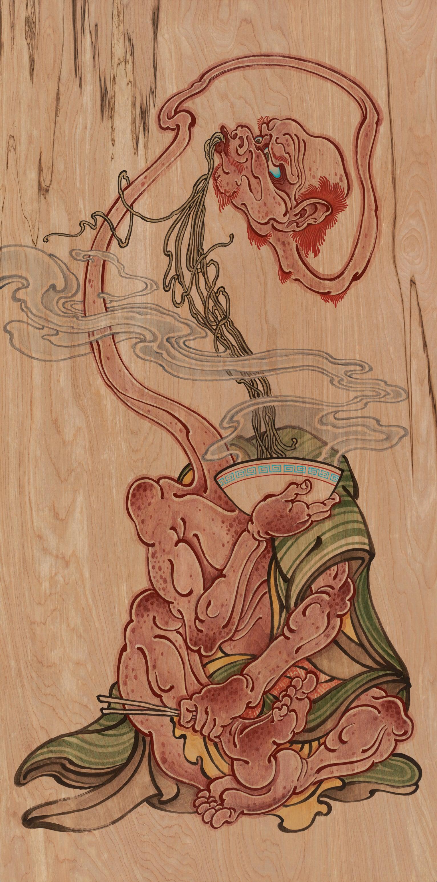 Untitled (rokurokubi with noodles) . 2014 - acrylic on wood. 4' x 2'.