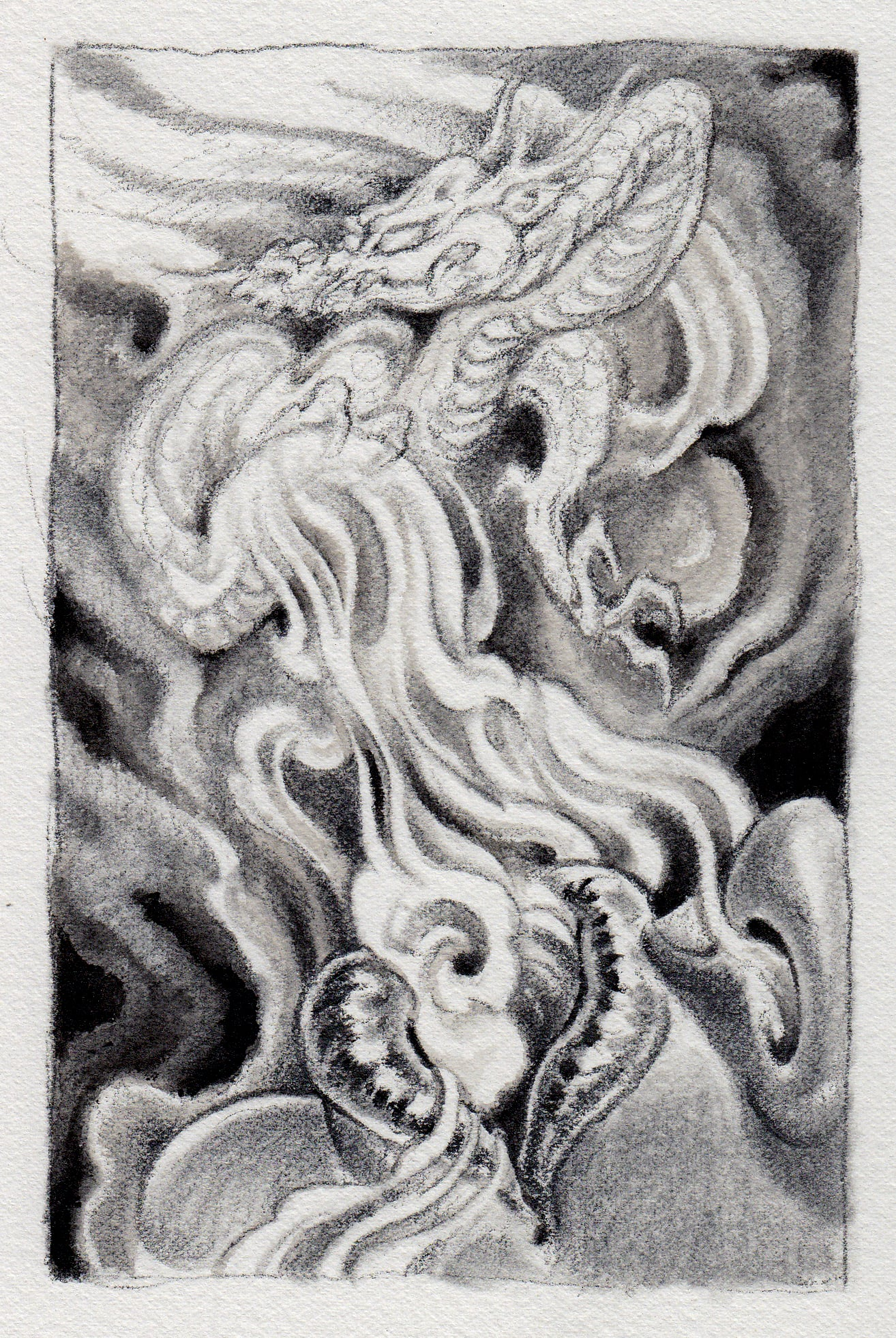 """Exhale . 2012 - graphite and watercolor on paper. 4"""" x 6""""."""