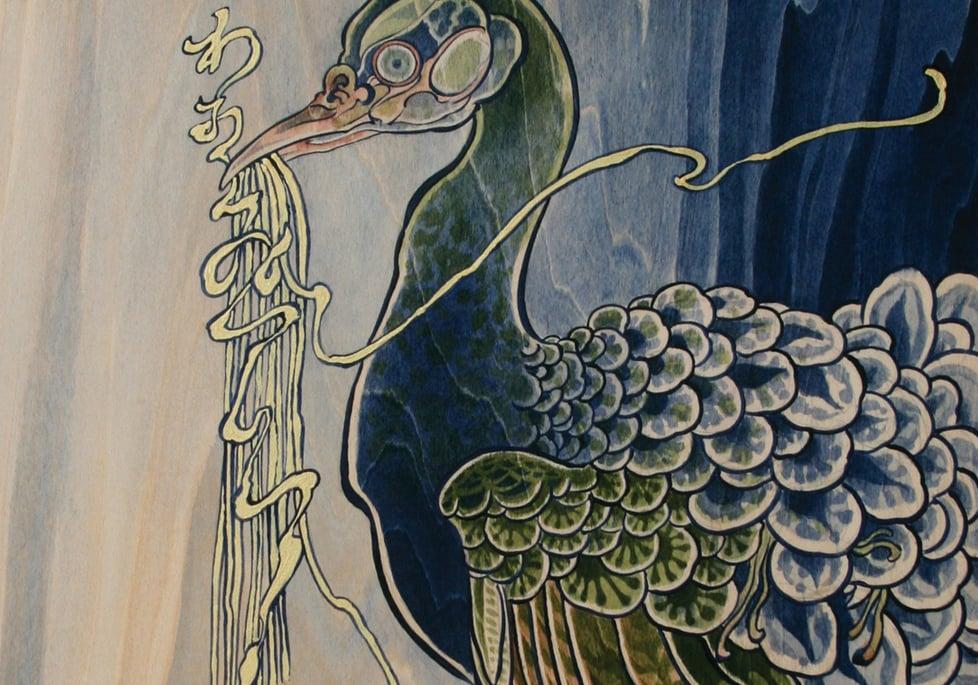 Wa, Oishii desu!  Detail. 2011 - acrylic on wood. 5' x 2'.