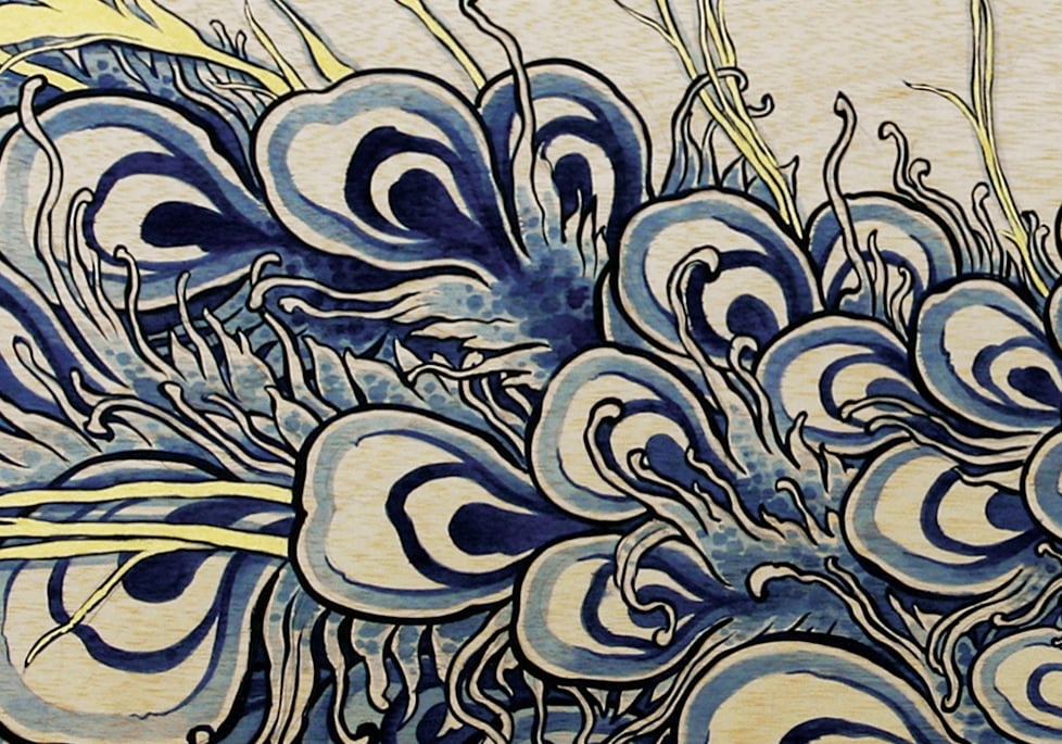 Peacockin' . Detail. 2011 - acrylic on wood. 1' x 6'.