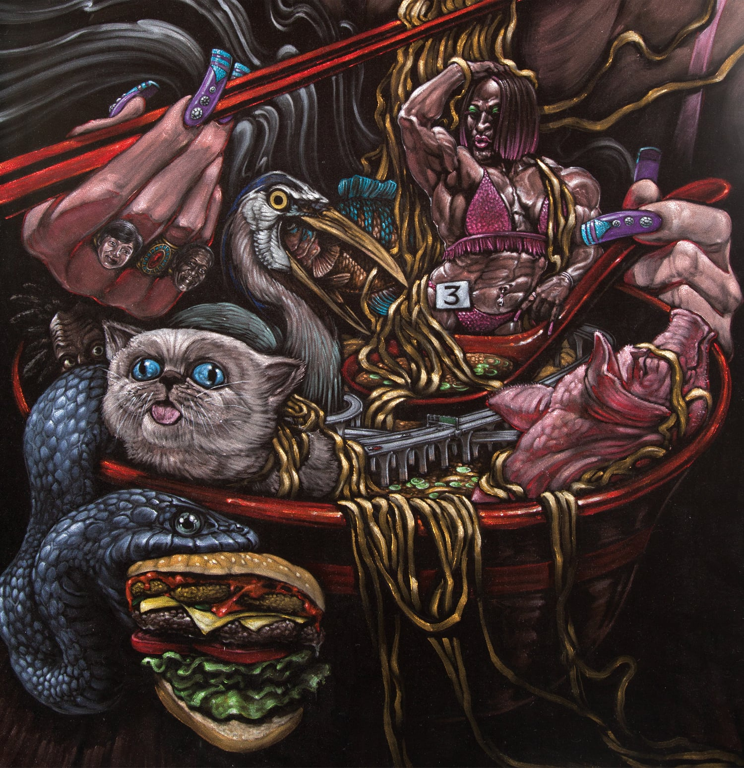A number 3...with everything . Detail. 2011 - acrylic on velvet. 6' x 3'.