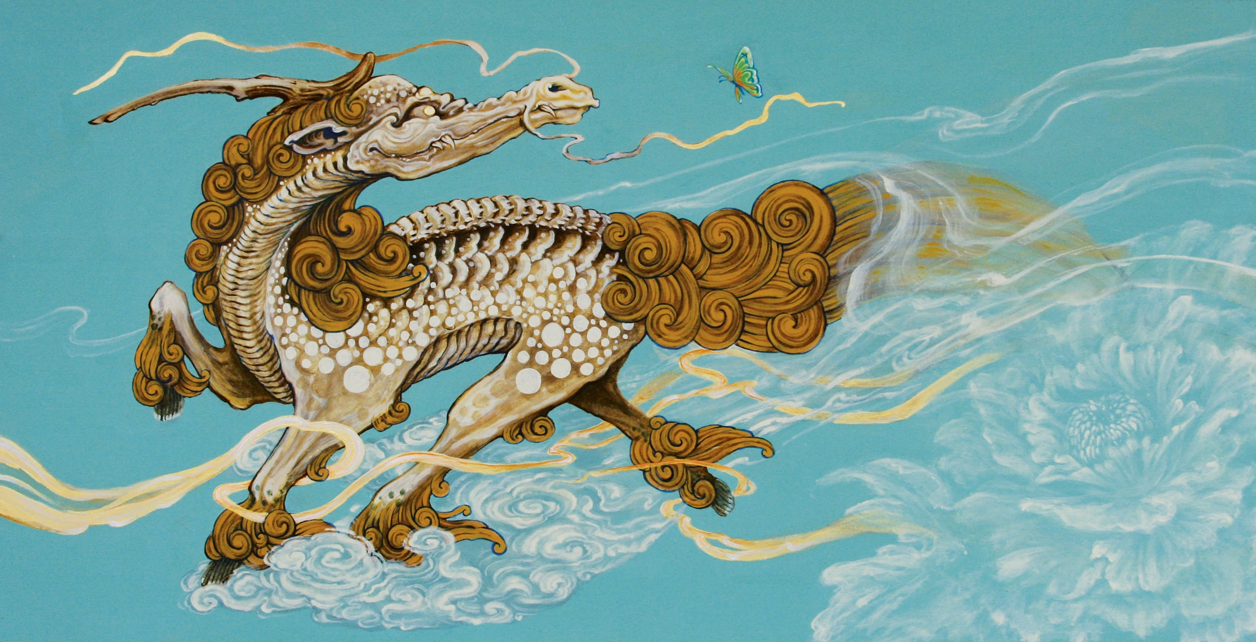 Untitled (Kirin with Peony & Butterfly) . 2009 - acrylic on board. 1' x 2'.