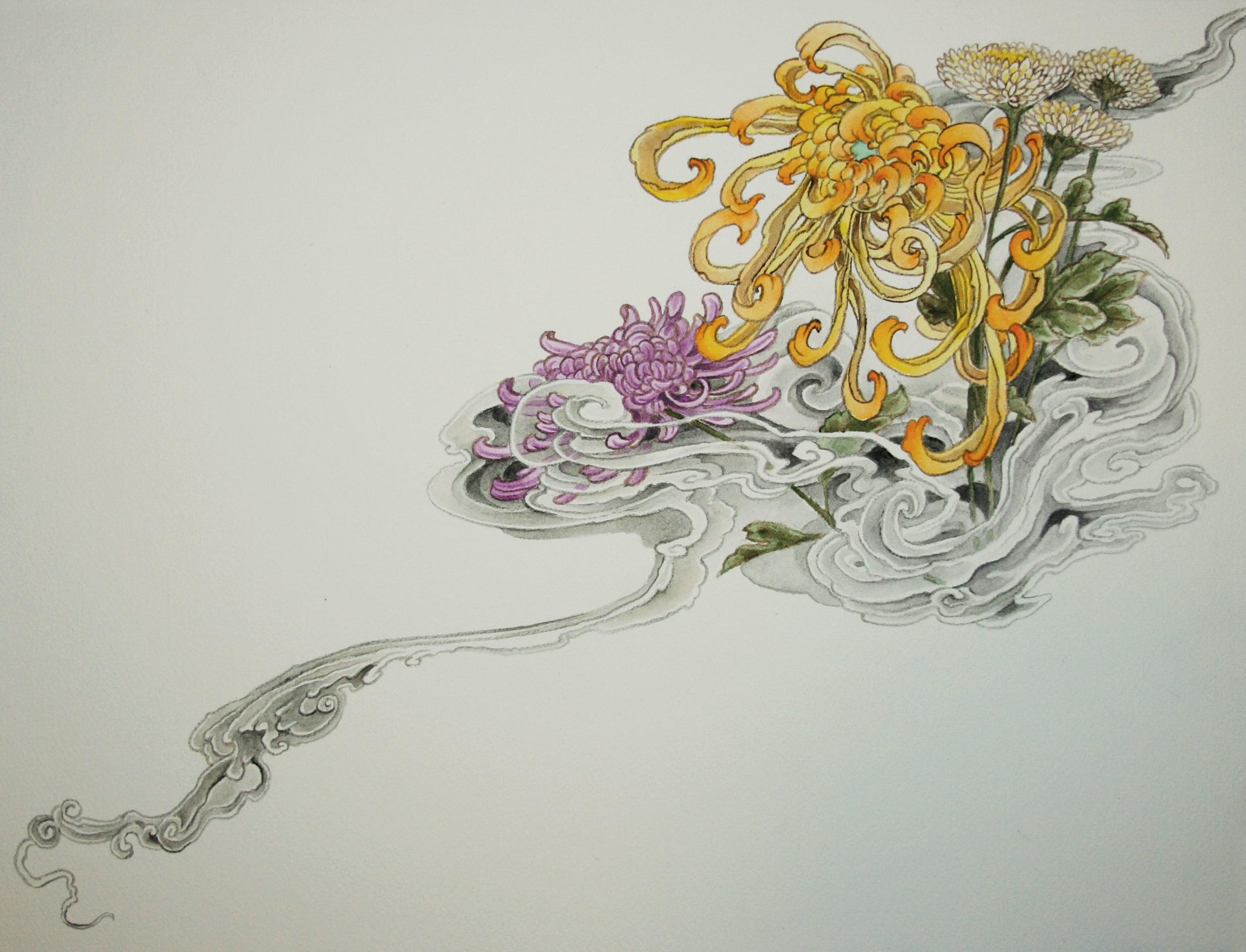 "Untitled (chrysanthemums) . 2009 - acrylic on paper. 11"" x 17""."
