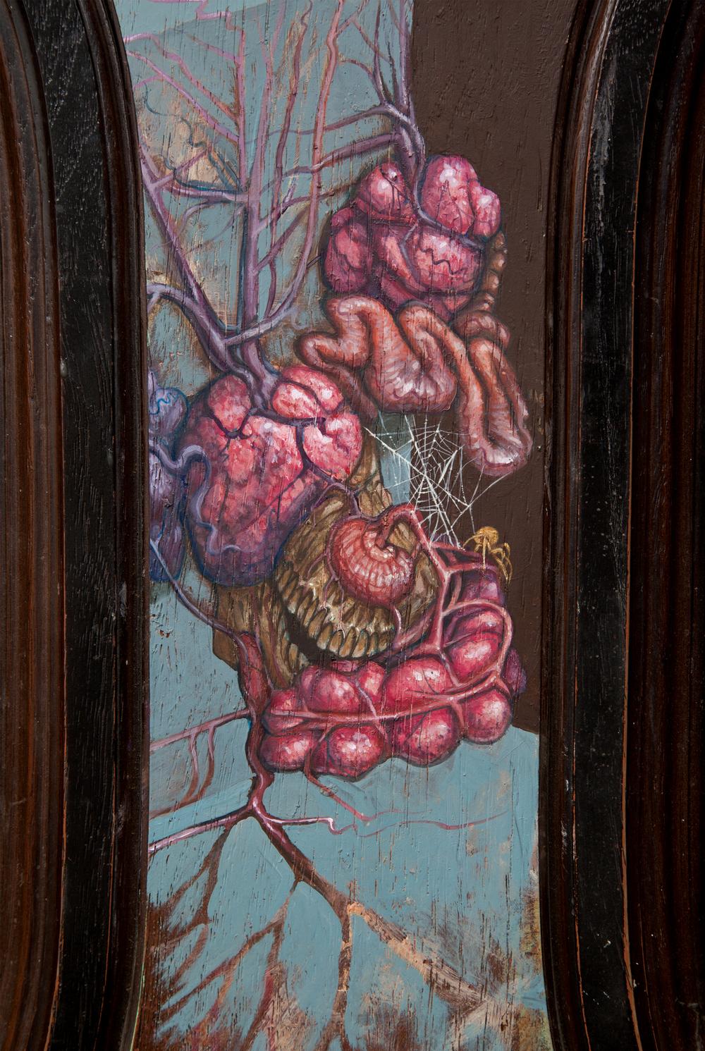 "Old Growth . Detail. 2002 - acrylic on fiberglass. 30"" x 15""."