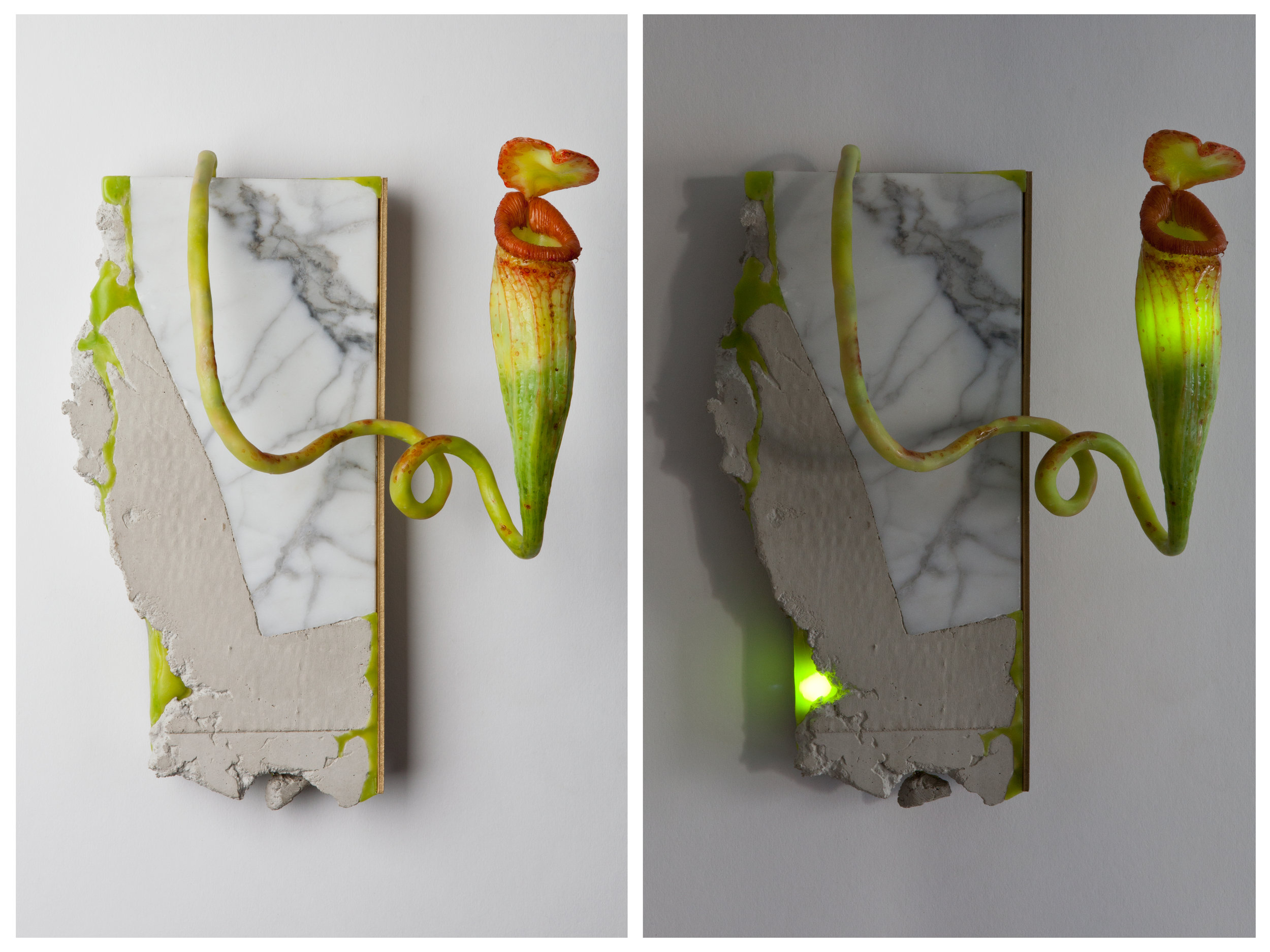 Untitled (Sconce). 2016-plastic, concrete, carrara marble, brass and LED lights