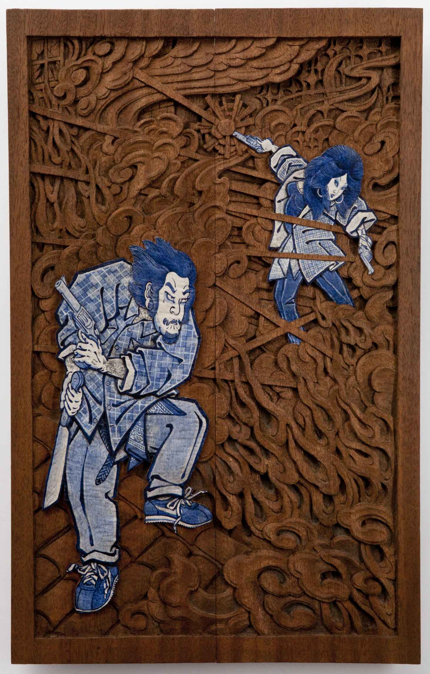 lil' Tiger y Pistolera (the moment of love):108 Heroes of Los Angeles. 2017- hand carved mahogany, acrylic paint, and graphite