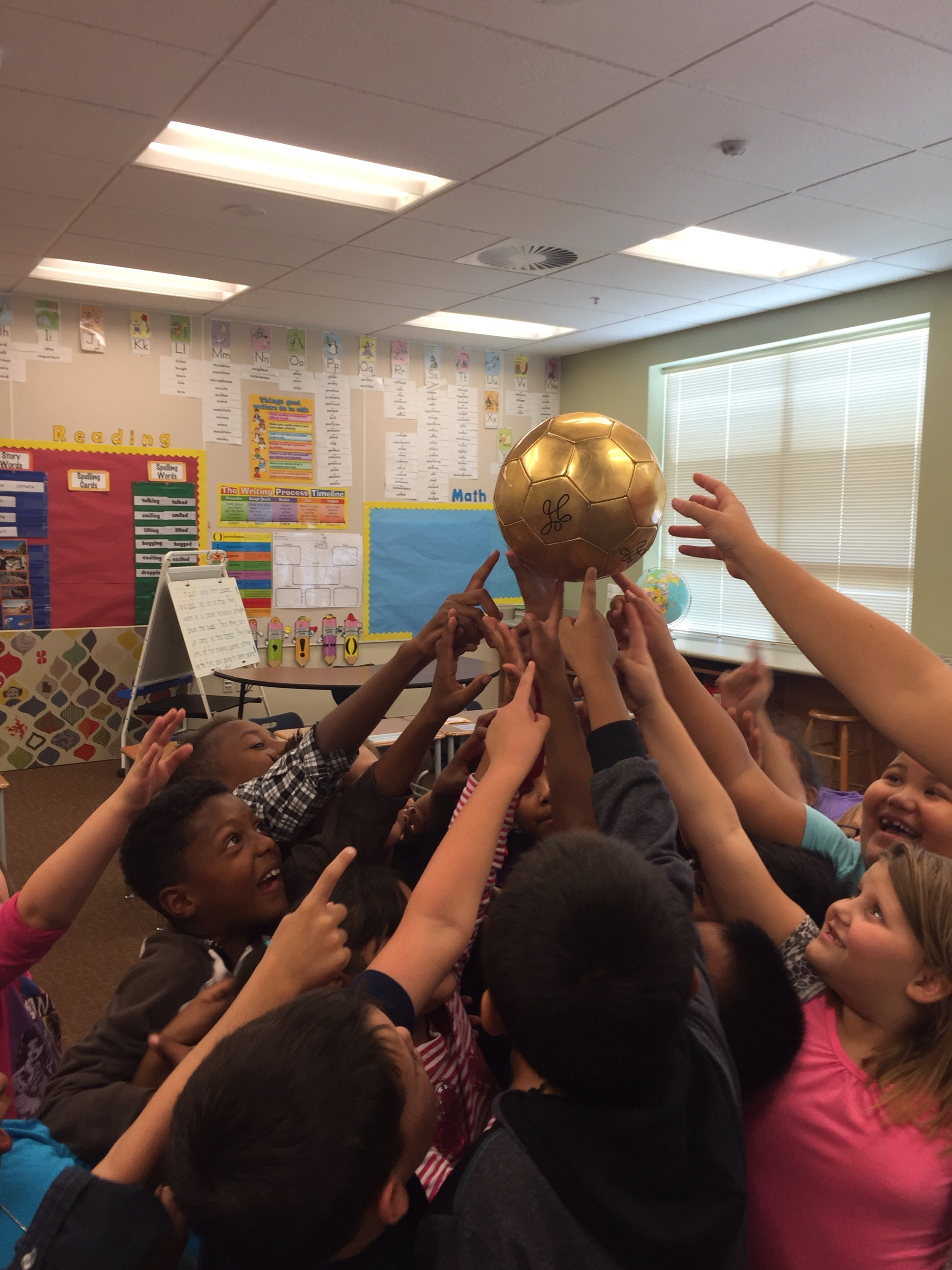 The playworks ball of excellence, given to the coach and school in Utah that most exemplifies Playworks core values of respect, inclusion, healthy community and healthy play.