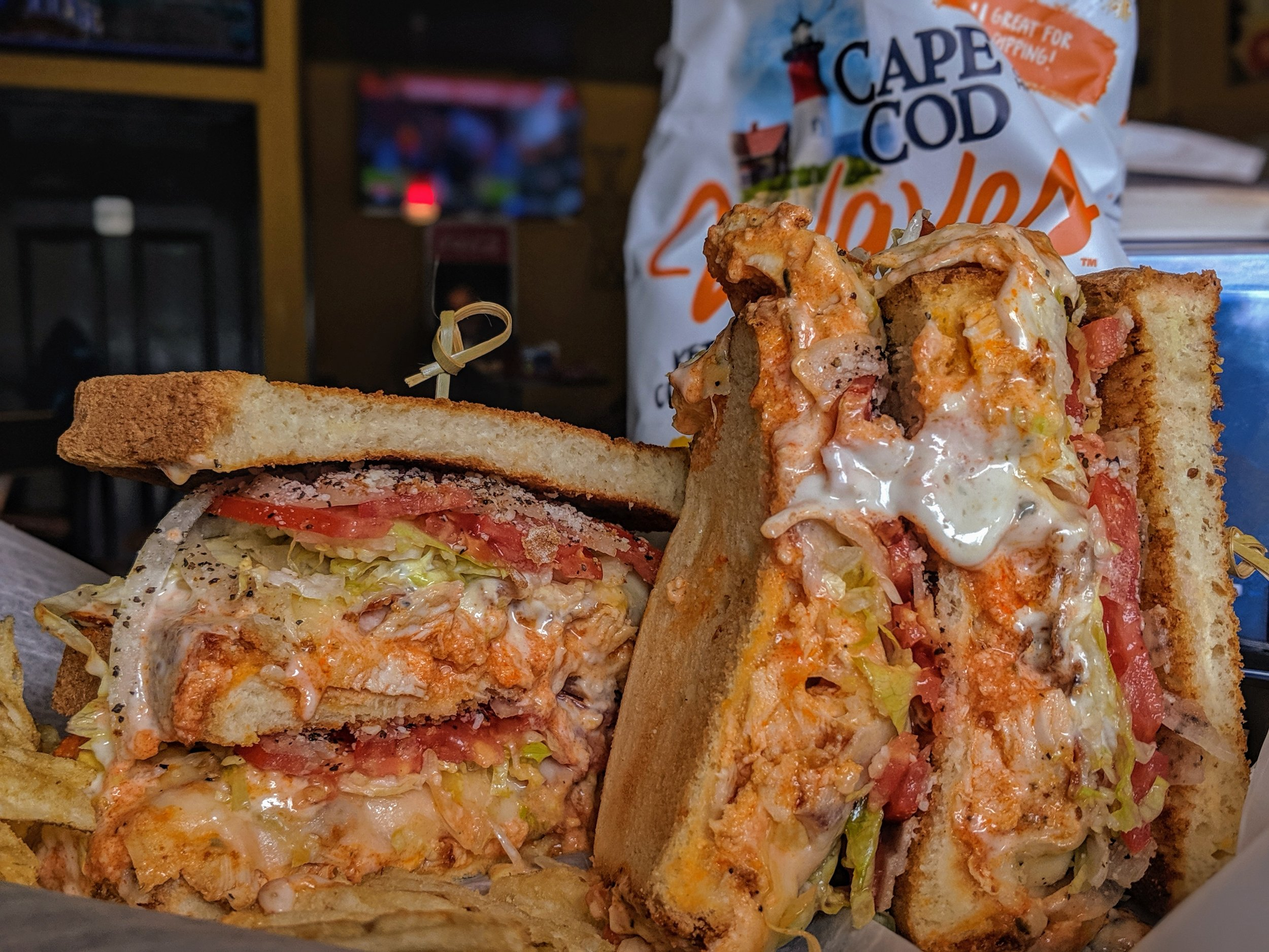 - Buffalo Chicken Club Melt in all its Glory.