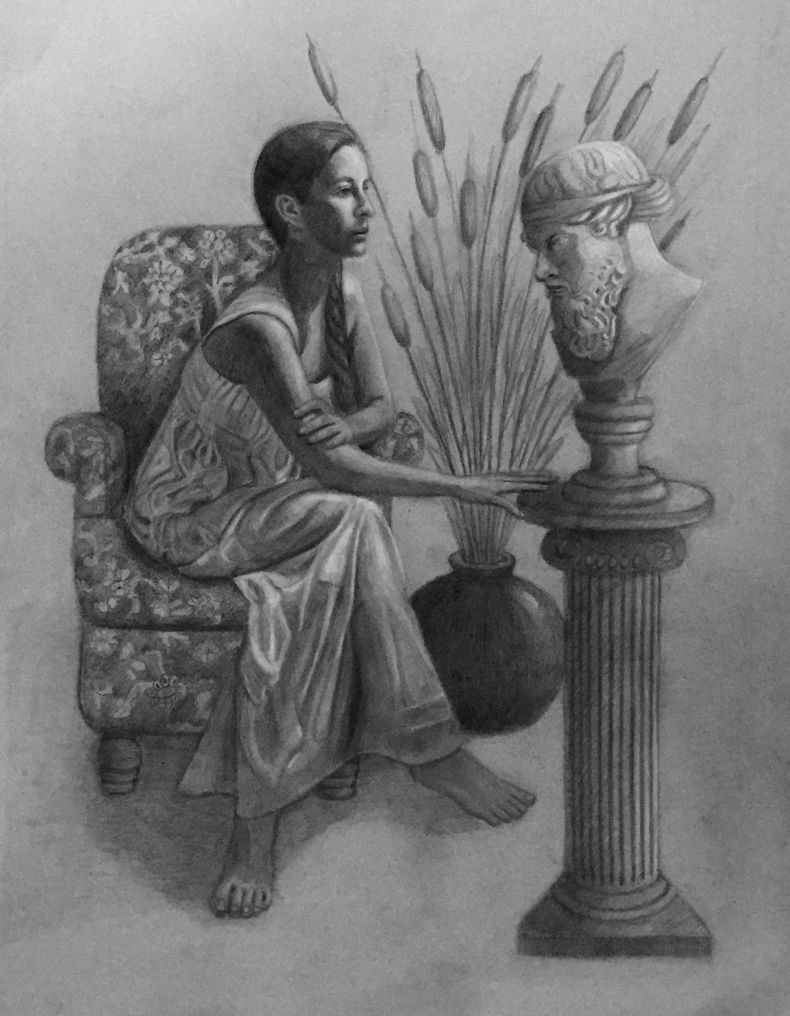 Hypatia Contemplating a bust of Plato