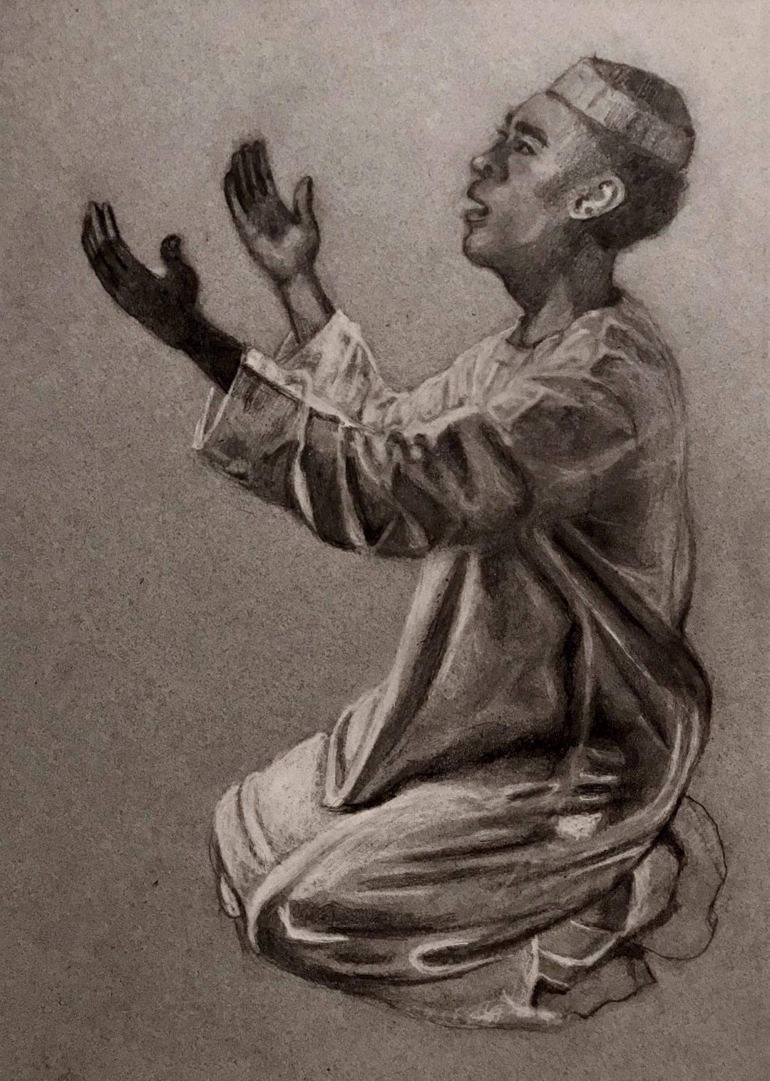 Moslem in Prayer Drawing.jpg
