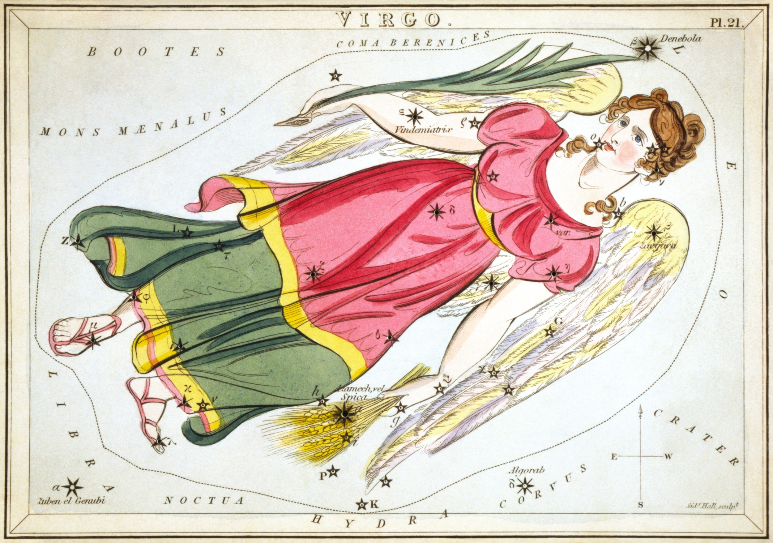 Virgo, Urania's Mirror star chart cards (1824)