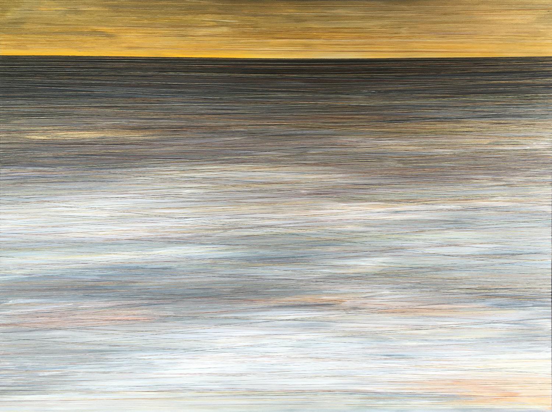 AUTUMN REFLECTION. ACRYLIC & THREAD ON CANVAS. 48X36. 2016. SOLD.