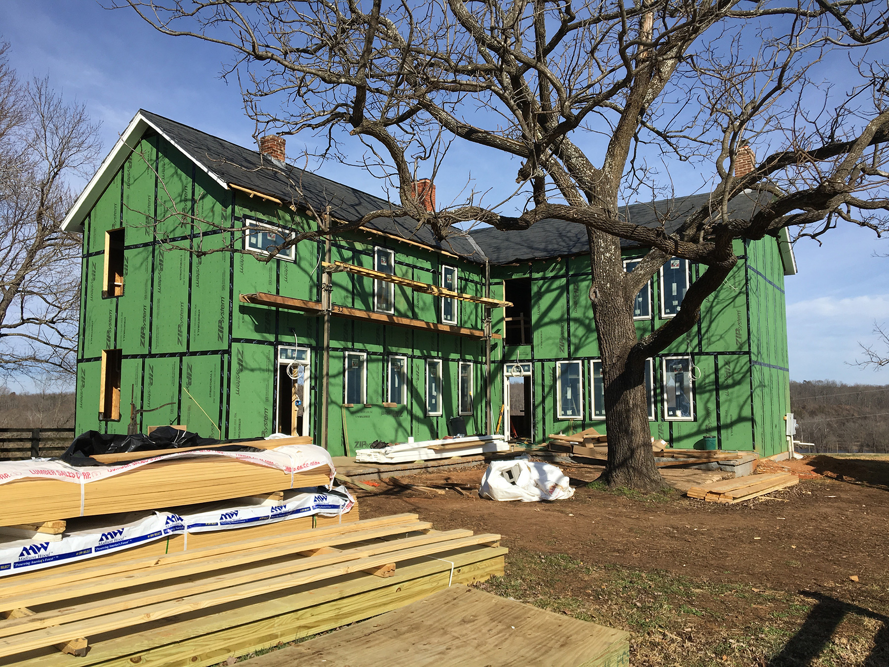 THE HOUSE WAS SHEATHED WITH THE HUBER ENGINEERED WOODS - ZIP SYSTEM.