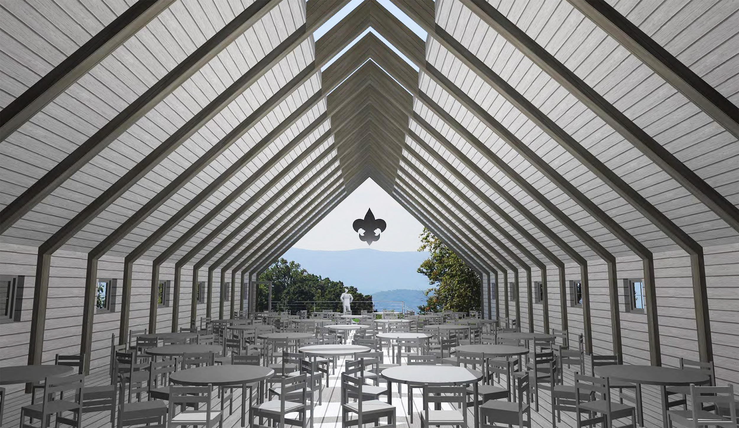 CONFERENCE INTERIOR WITH VAULTED CEILING, RIDGE SKYLIGHT & AN OPPORTUNITY TO CALIBRATE A VIEW.