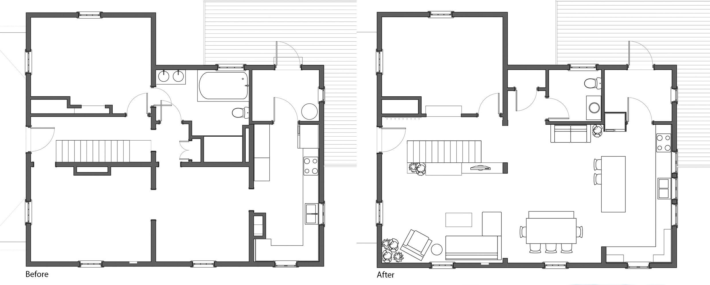 BEFORE & AFTER FLOOR PLANS