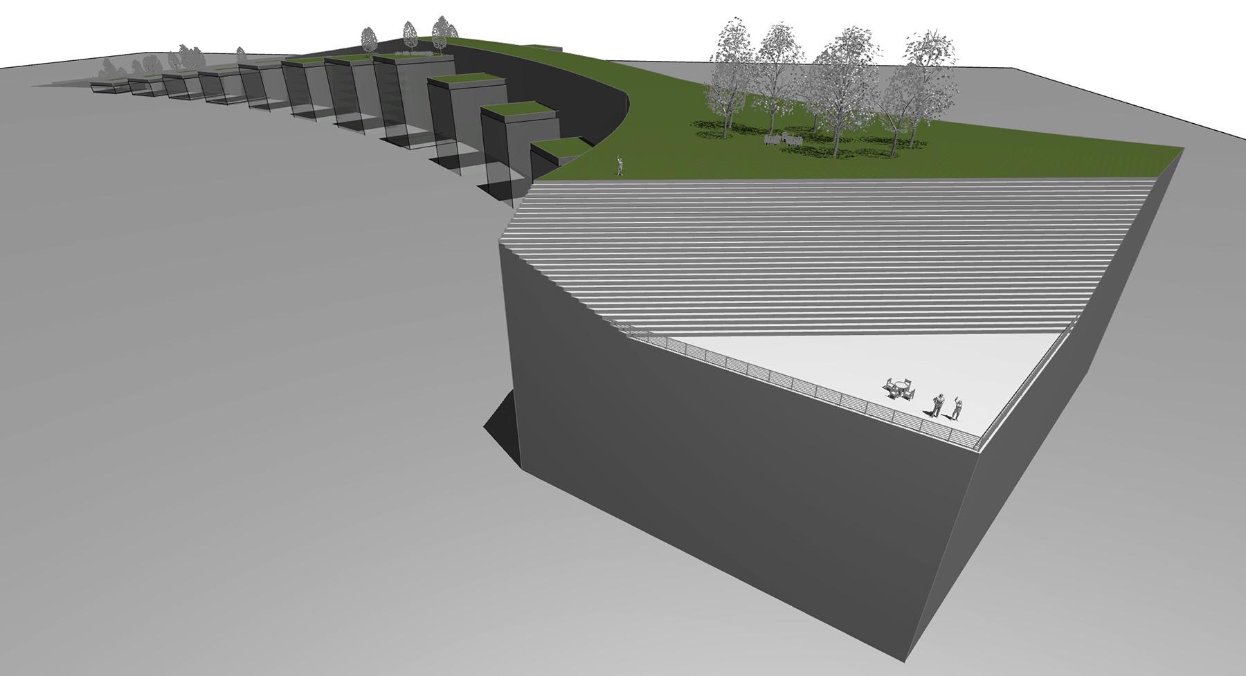 AMPHITHEATER ON TOP OF BUILDING AT TERMINUS OF PARK