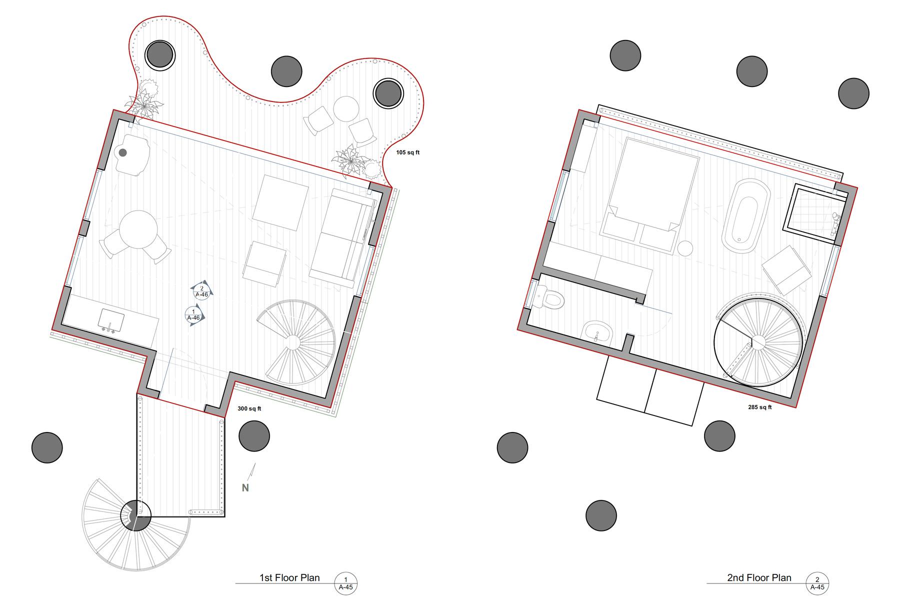 OPTION 2: 1st & 2nd FLOOR PLANS