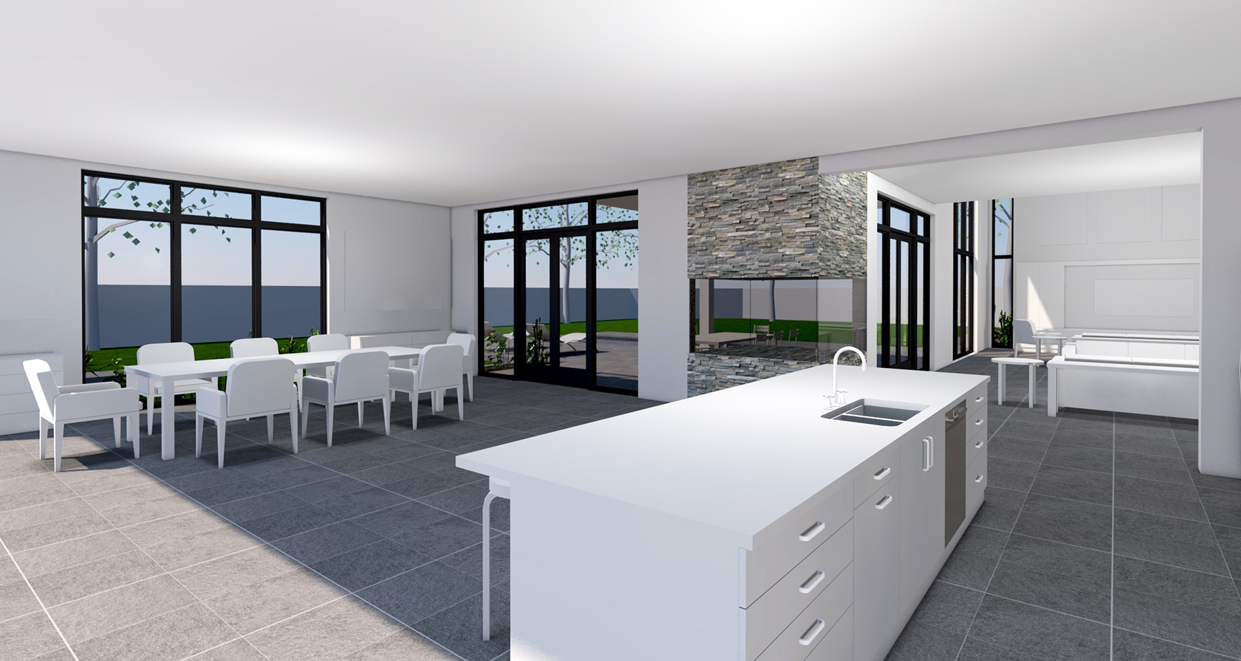 KITCHEN TO DINING AND LIVING ROOM
