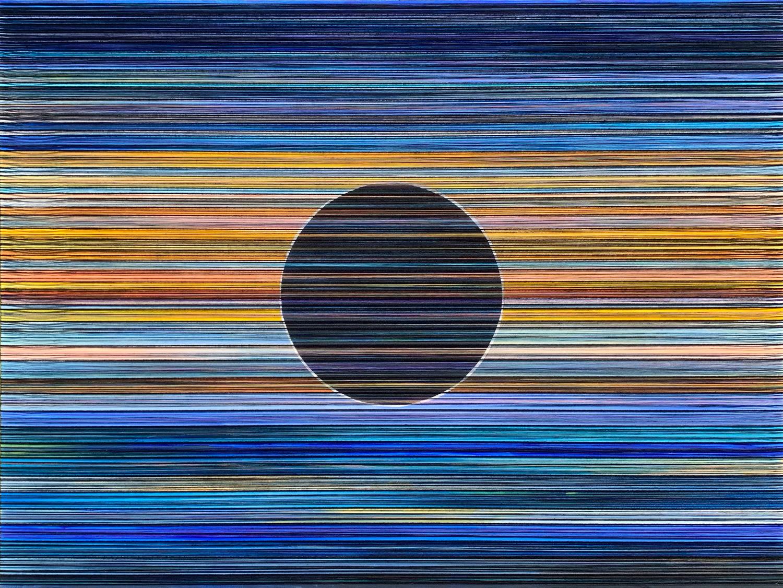 """Celestial. Acrylic & Thread on Canvas. 48""""x36"""". 2019."""