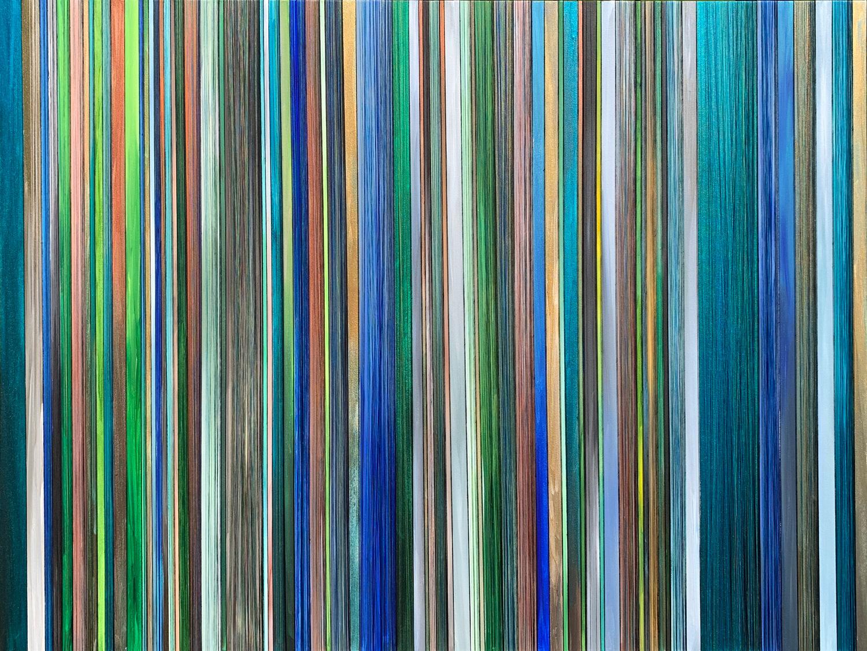 """ETHEREAL CODE. ACRYLIC & THREAD ON CANVAS. 48""""X36"""". 2019."""