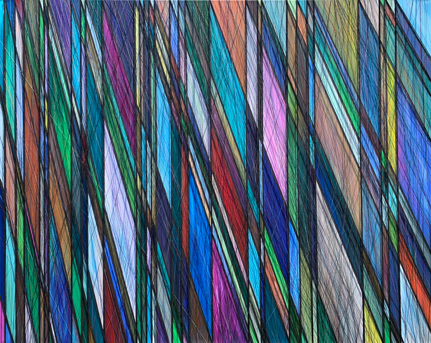 """ETHEREAL PRISM. ACRYLIC & THREAD ON CANVAS. 60""""X48"""". 2019."""