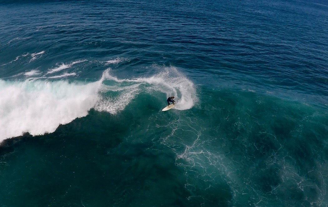 A drone shot from a day of surfing at Las Americas, Tenerife.