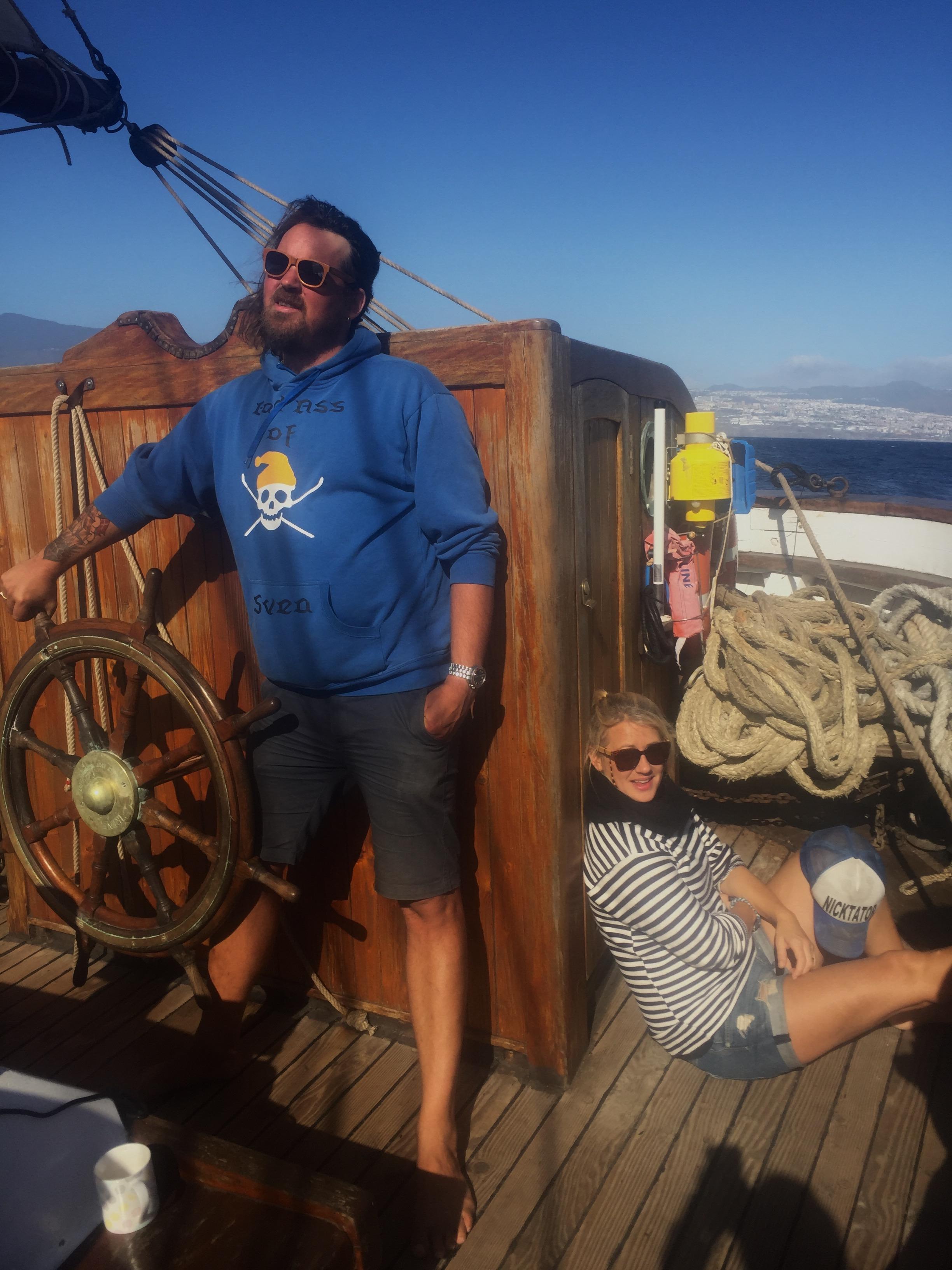"Nick and Estella sailing ""Irene"""