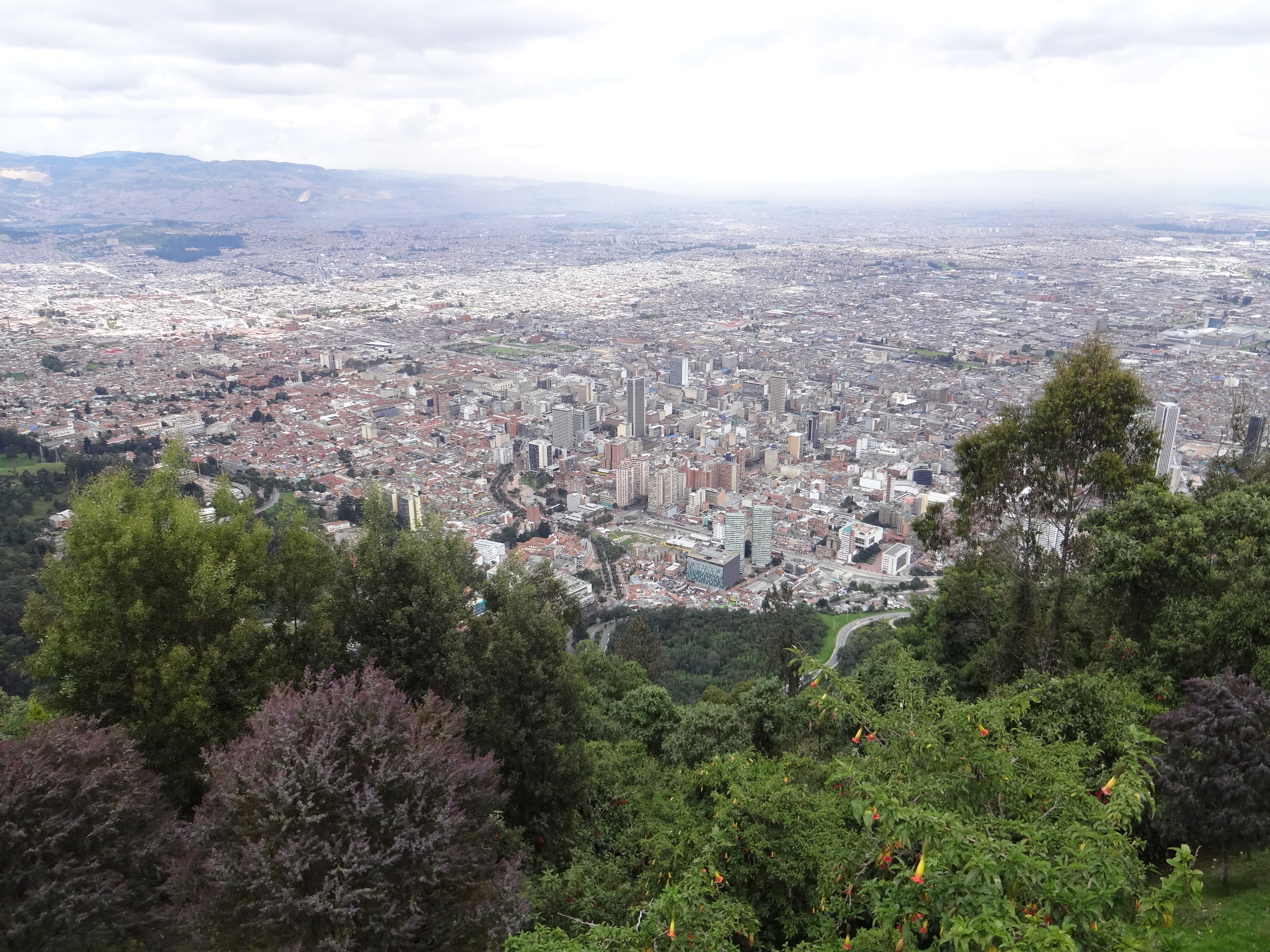The view of Bogota from Monserrate Mountain.