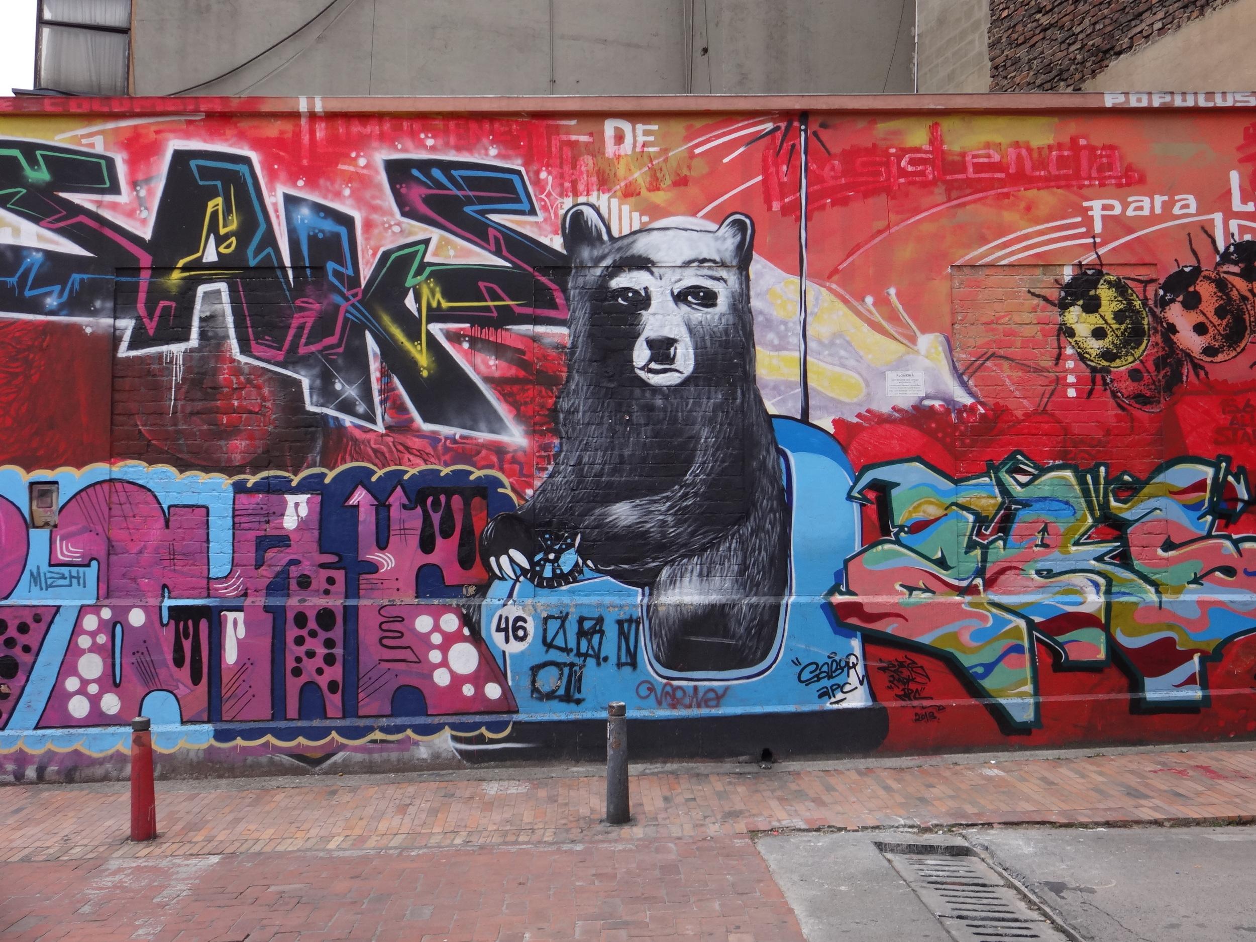This type of street art is everywhere in La Candelaria neighborhood.