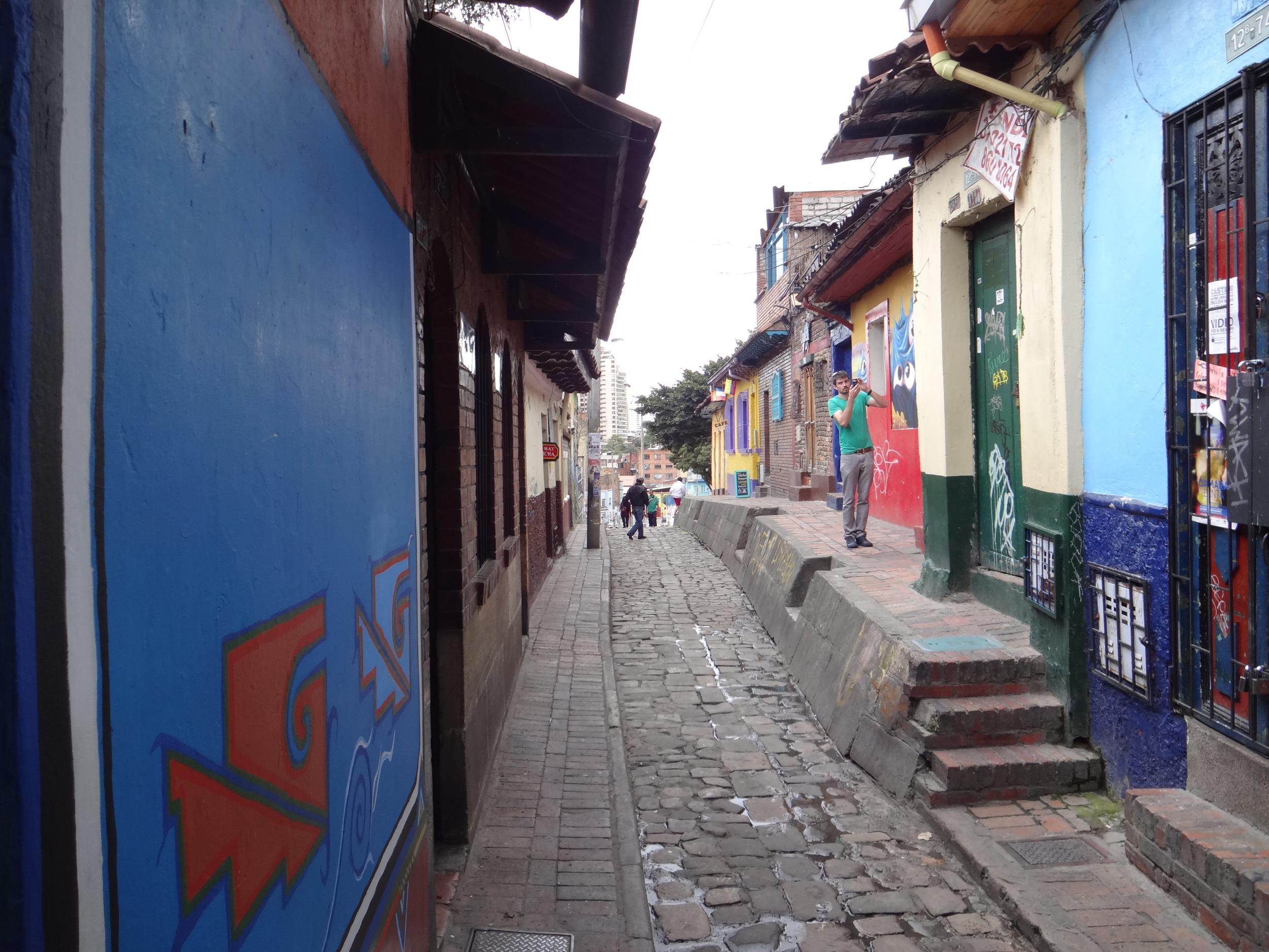 The narrow streets of La Candelaria.