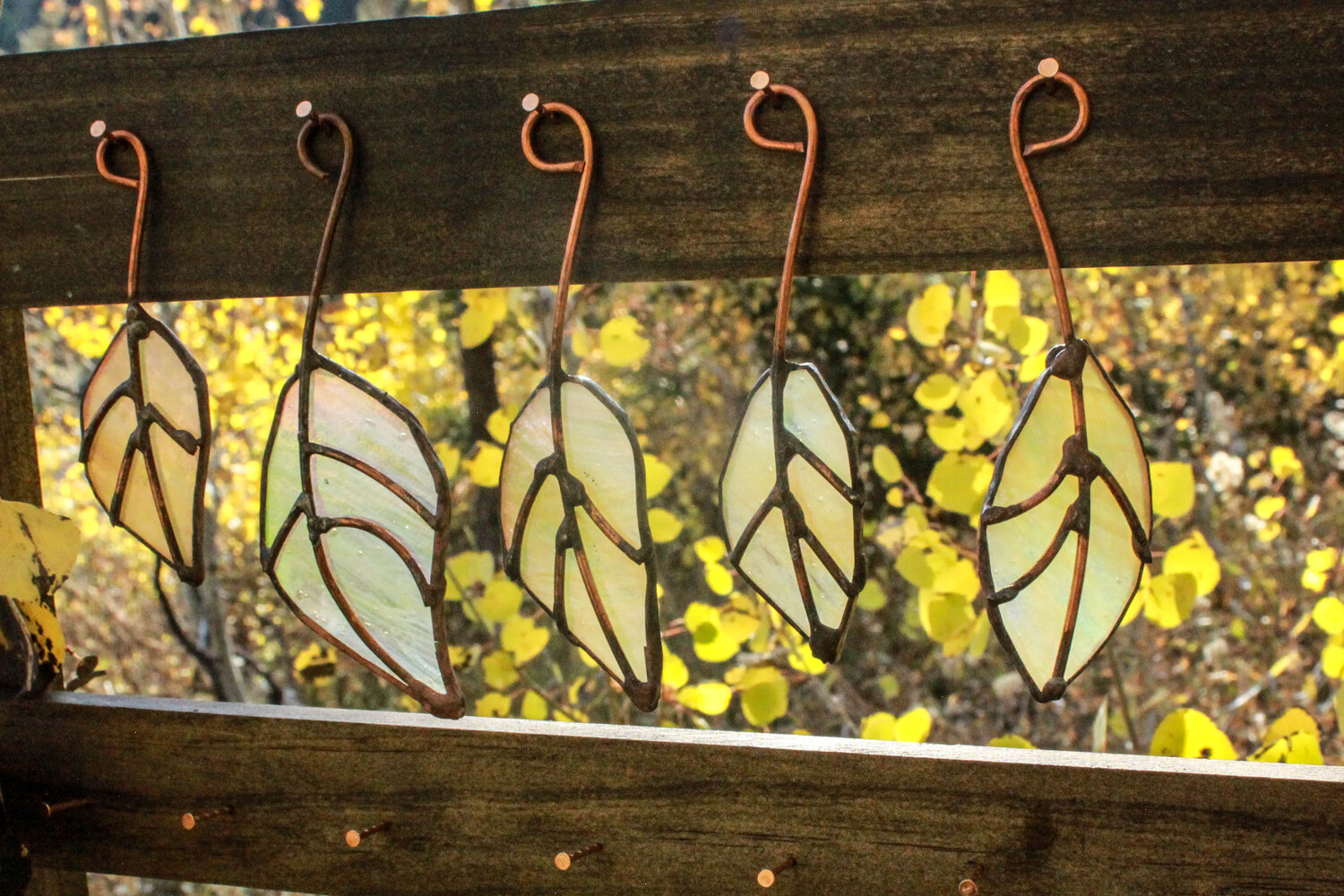 Stained Glass Leaf Set of 4-Pastel Pink