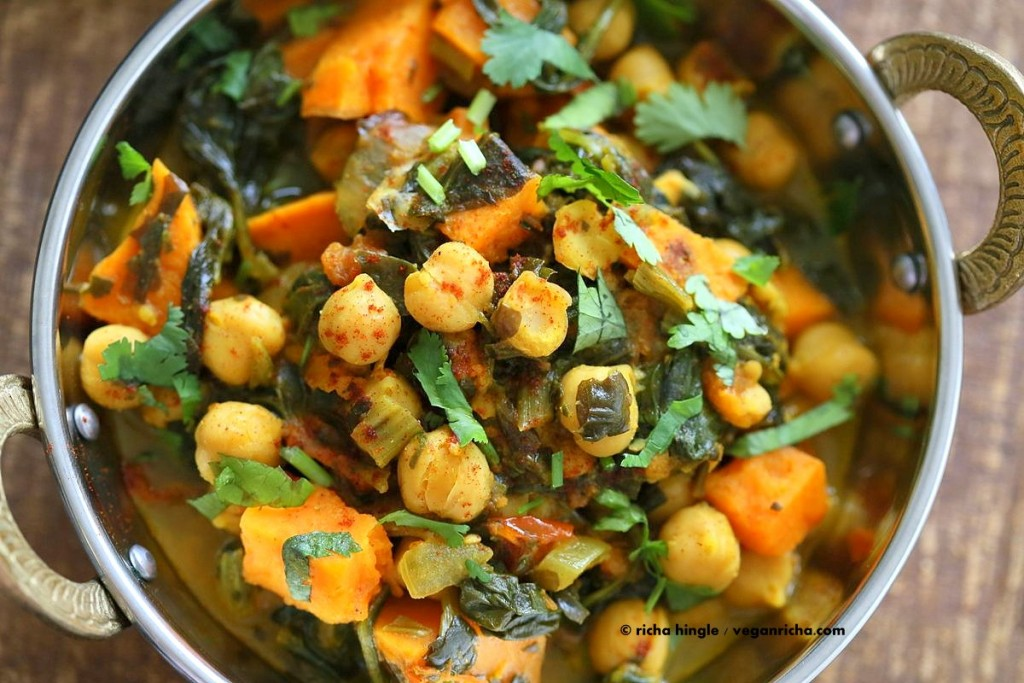Another flavourful simple - 1 pot - (vegan) meal option: Chickpea Sweet Potato Spinach Curry - add protein as desired ...   1 Pot Chickpea Sweet Potato Spinach Curry