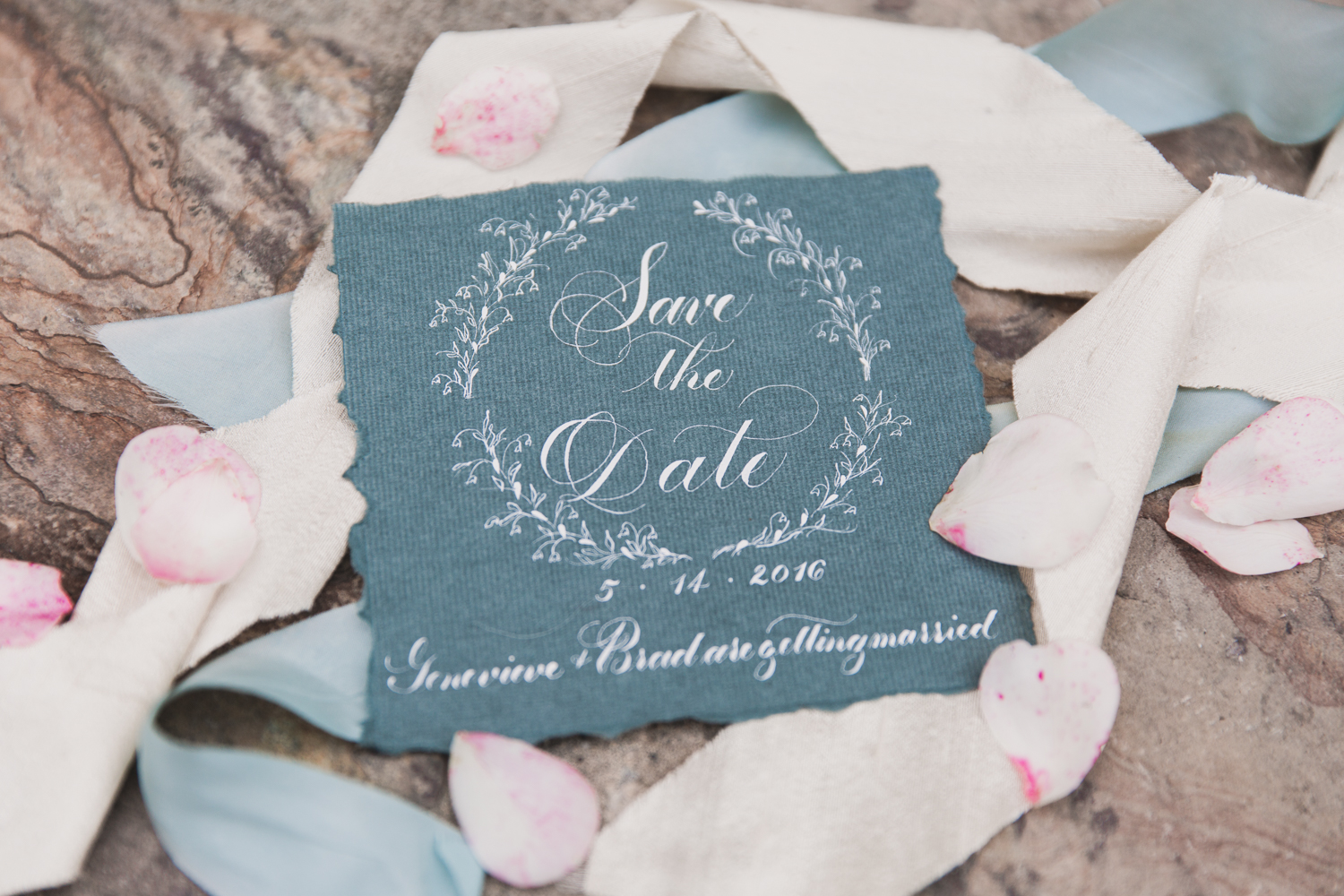 CustomCalligraphyWeddingSaveTheDateVintageWreath