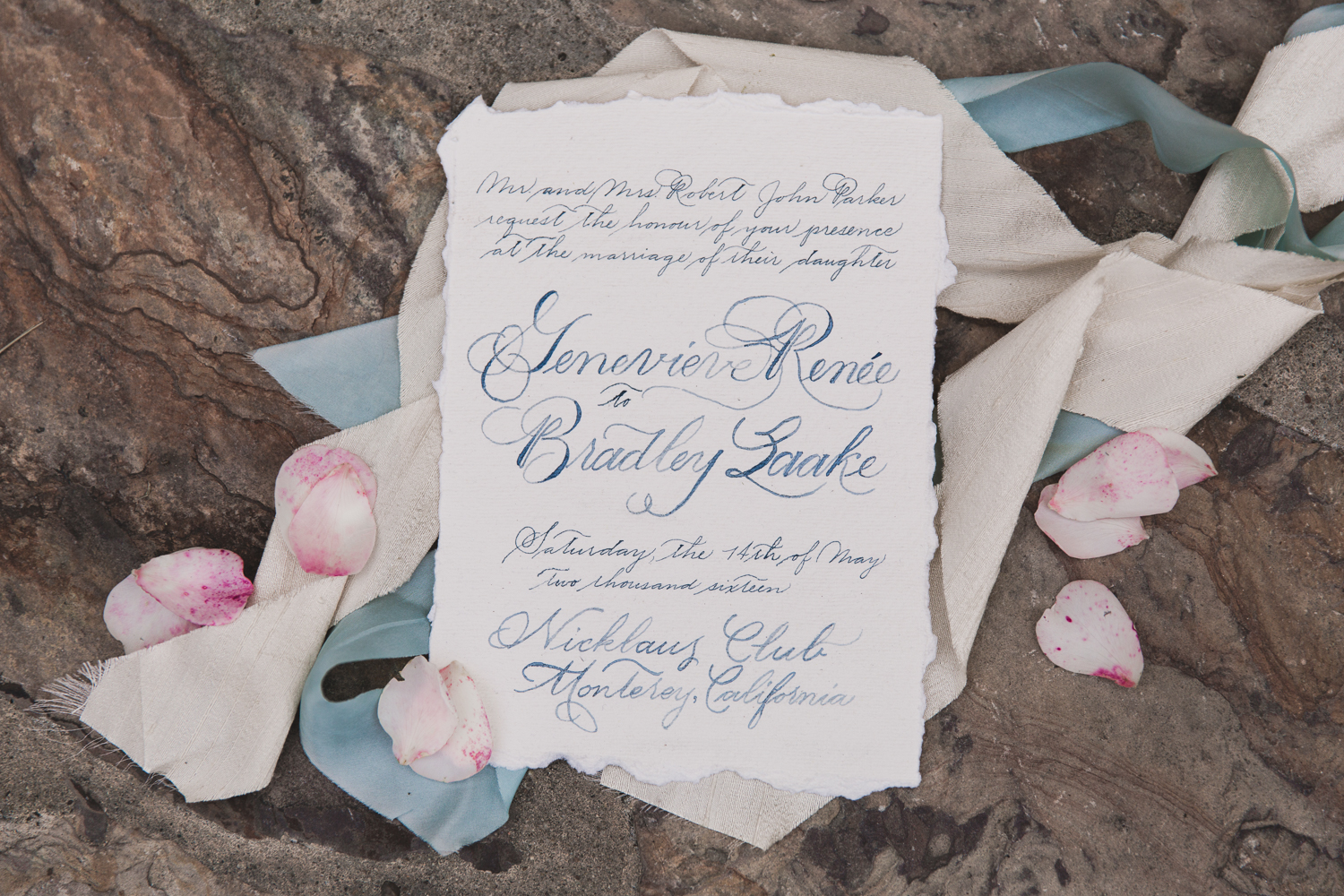 CustomCalligraphyInvitationHandmadePaperVintageBlue