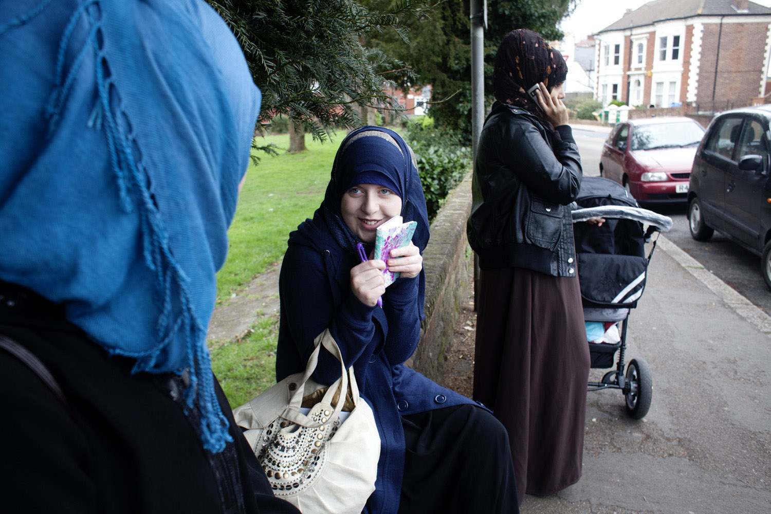 Deryn outside the mosque in Exeter.