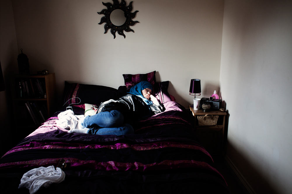 Khadija sleeping at Deryn's bed. The girls has been best friends since they met as newly converted muslims.