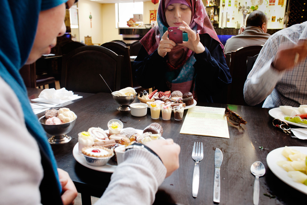"""Deryn: """" I want to be a size 8 but its so easy to just forget about dieting when you wear a abaya everyday and people can't tell. We go to this buffet for the cakes quit often""""."""