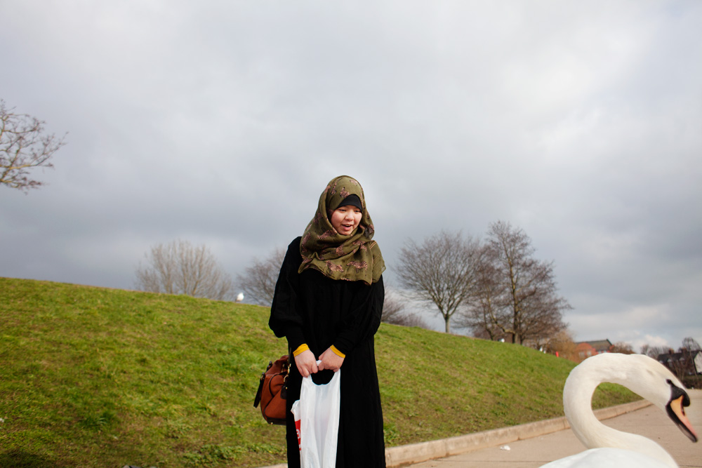 Khadija is english. She is born here and even tho she loves the country she hopes to marry a man from Saudi Arabia or another muslim country. She has never travelled outside the UK but she dreams of living in a islamic nation with a religious husband.