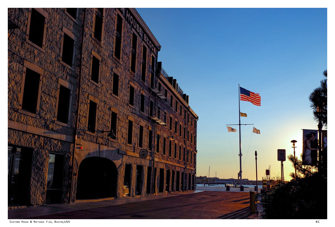 Old Customs Building and US Flag