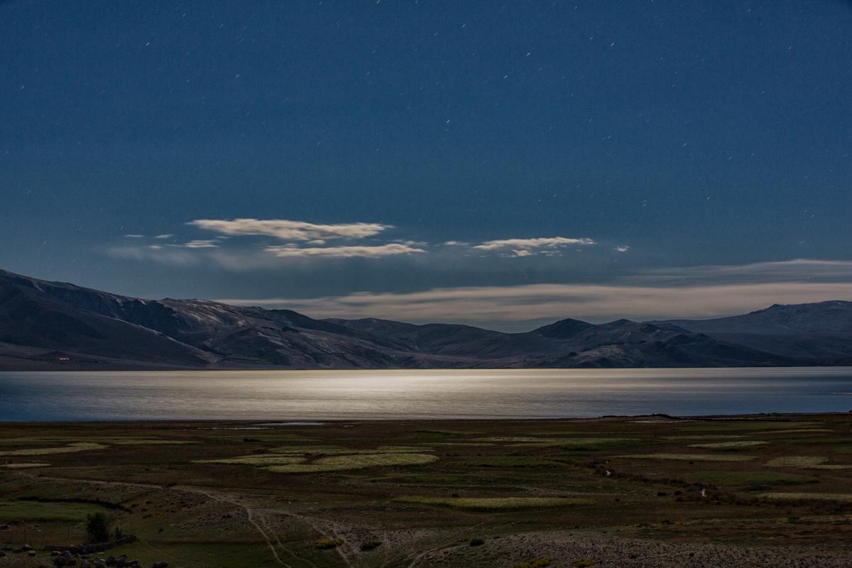 Tso Moriri lit up by moonlight.