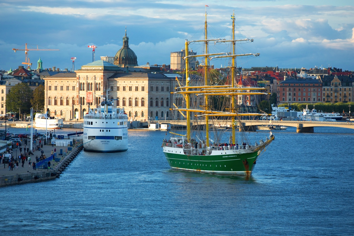 Stockholm Harbour and Traditional Sailing Ship