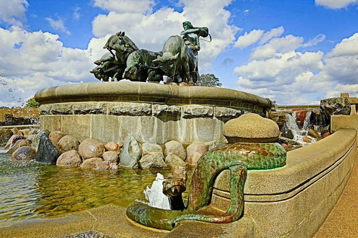 The Gefion Fountain is a large fountain on the harbour front in Copenhagen, Denmark. It features a large-scale group of animal figures being driven by the Norse goddess Gefjon