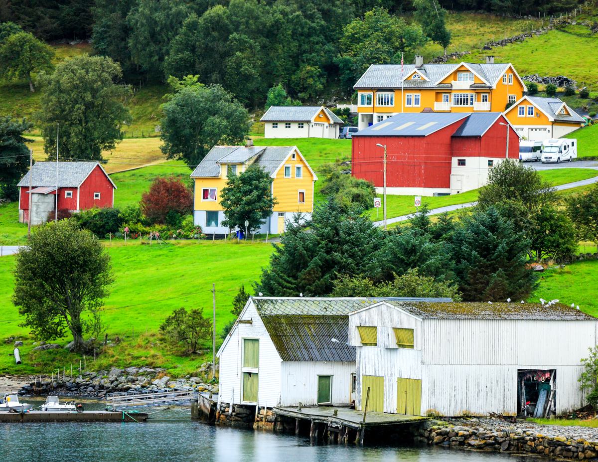 Typical Norwegian Fishing Hamlet in the fjords